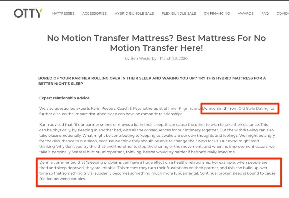 No Motion Transfer Mattress – Advice from Dennie