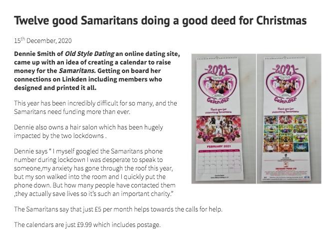 Dennie fundraising for the Samaritans